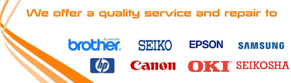 logos of: Brother, Seiko, Epson, Samsung, HP, Canon, Oki, and Seikosha Printers